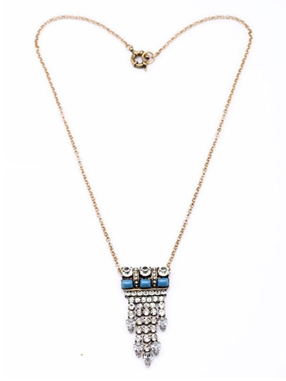 Other Crystal and Turquoise Stone Pendant Necklace