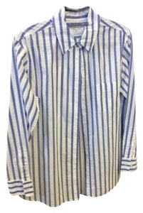 Equipment Button Down Shirt White & Blue stripped