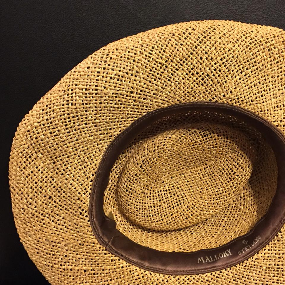 Stetson Brown Mallory Straw and Leather Hat 78% off retail 439c40effeb