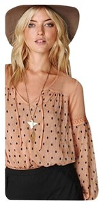 Free People Top Pink/nude with Black Dots