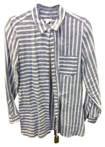 J. Jill Button Down Shirt Blue & white stripes
