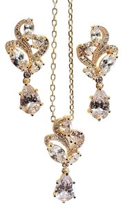 Wedding Gold Plated Cz Necklace Set