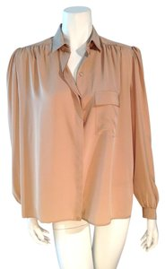 Serge Nancel Size 10 Buttondown Top Beige