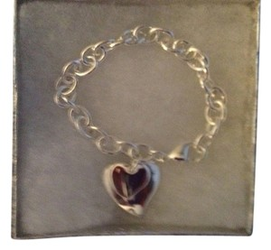 "Sears Sterling Silver Engravable Dangling Double Heart Bracelet 7.5"", Signed 925"