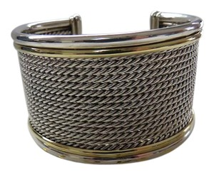 David Yurman Wheaton 15 Row Cable Cuff Bracelet, SS/18k, Medium
