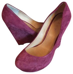 L.A.M.B. Suede Heels Tall Heels Burgundy/Red Wedges