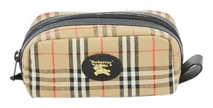 Burberry Toiletry Tartan Canvas Beige Travel Bag