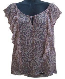 American Eagle Outfitters Paisley Floral Chiffon Summer Semi Sheer Top Multicolored