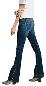Free People Button Seamed Denim Flare Leg Jeans