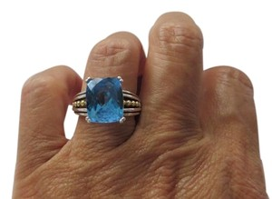 Lagos Caviar Beaded 12x10mm Prism Blue Topaz Ring, Sz 8