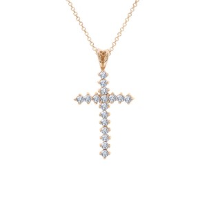 Avital & Co Jewelry 1.50 Carat Round Cut Cross Cz Pendant 14k And 10k Yellow Gold Gold
