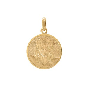 Avital & Co Jewelry 14k Yellow Gold Face Of Jesus In Circle Charm Pendant
