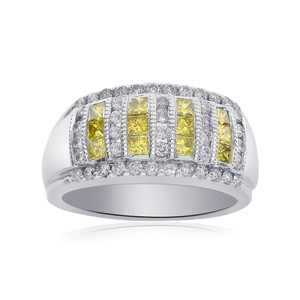 Avital & Co Jewelry 1.00 Carat Fancy Yellow And White Diamond Double Row Band 18k WG