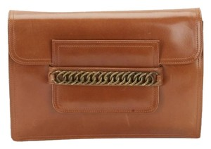 Saint Laurent Ysl Yves Leather Tan Clutch
