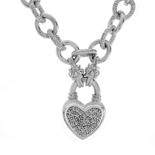Avital & Co Jewelry 0.25ct Diamond Heart Charm Bracelet In white gold over Sterling Silver Image 2