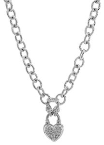 Avital & Co Jewelry 14 Ct. T.w. Diamond Heart Link Necklace In Sterling Silver