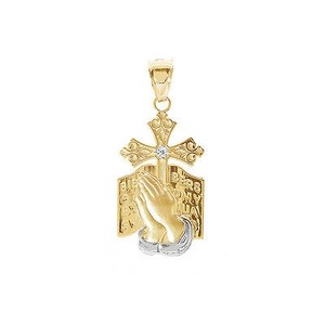 Avital & Co Jewelry 10k Two Tone Gold Gold Bible Praying Hands And Cross Pendant