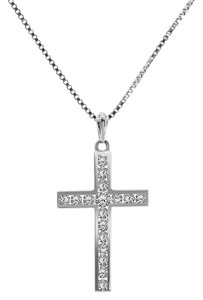 Avital & Co Jewelry 1.50 Carat Diamond Cross Pendant With 16 Chain 18k14k White Gold