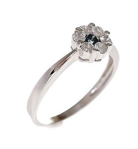 0.50 Carat Classic Floating Pave Flower Blue Diamond Ring