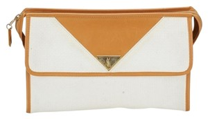 Saint Laurent Ysl Yves Vintage Zip White Clutch
