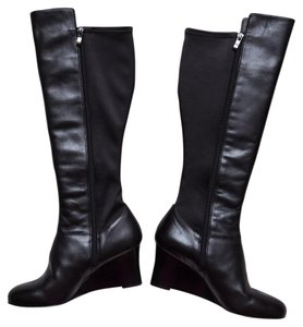Umberto Raffini Knee High Leather Wedge Eu 40 Black Boots
