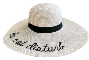 Other Straw Large Brim Letter Sequin Embroidery Hat Do Not Disturb
