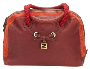 Fendi Vintage Boston Leather Satchel in Red