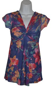 Sweet Pea by Stacy Frati Floral Double Mesh Casual Twisted Bust Urban Gardener Top