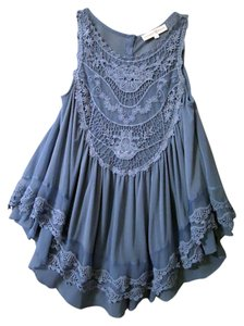 Altar'd State Lace Ruffle Top blue