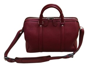 Louis Vuitton Veau Cachemire Leather Speedy Satchel in Cherry Red