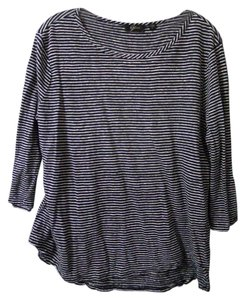 gyn Linen Long Sleeve Top blue & white stripe