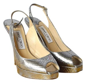 Jimmy Choo Silver Snake Black Pumps