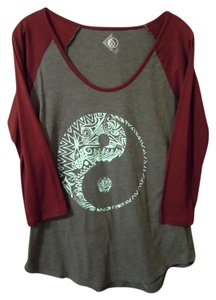 Volcom Baseball Shirt Top gray & burgandy