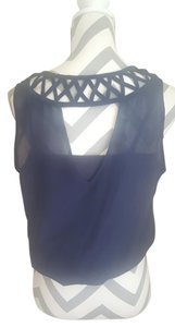 BCX Criss Cross Open Back Top Navy Blue