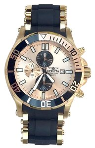 Invicta INVICTA Oversized Gold & Black Watch w/ Rubber on Band! (Has all links, tag, etc)
