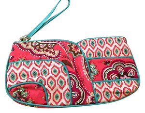 Vera Bradley Call Me Coral Wristlet in Pink and Blue