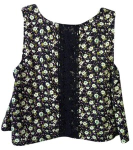 Altar'd State Lace Floral Top navy multi