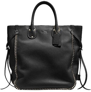 Coach Chain Pebbled Tote in Black