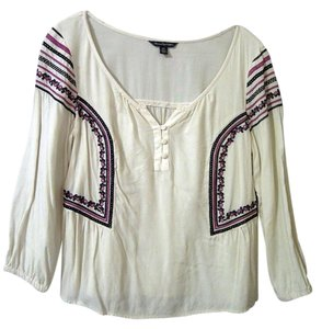 American Eagle Outfitters Embroidered Top off white multi