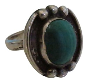 Other Heavy Silver Malachite Ring, size 7.5