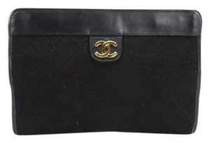 Chanel Vintage Leather Wool Black Clutch