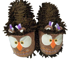 fun for feet Fuzzy Owl Design House brown multi Mules