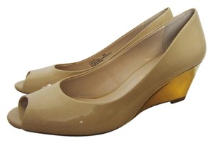 Franco Sarto Wedding Nude and Gold Wedges
