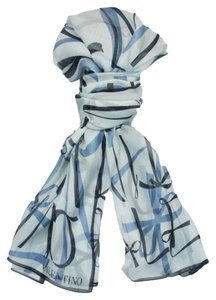 Valentino Valentino Blue Print Silk Ladies Scarves