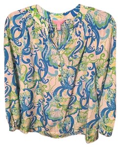 Lilly Pulitzer Top White, blue, & green