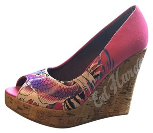 Ed Hardy Open Toe Pink Pump Pink/purple Wedges