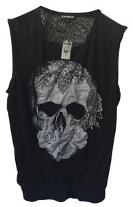 Express Lace Back Skull Top Black