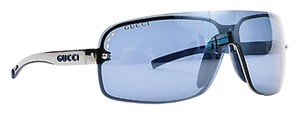 Gucci Gucci Blue Tinted Silver Tone Rimless Logo Shield Sunglasses