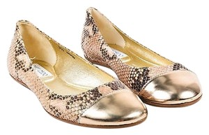 Jimmy Choo Cream Brown Snake Multi-Color Flats
