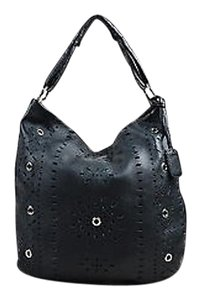 Furla Leather Laser Cut Tote in Black